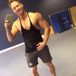 Posing In #MuscleMutt Graphic Stealth Black Stringer