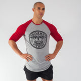 Muscle Mutt Mens Grey and Red Long Sleeve Gym T-Shirt