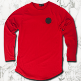 Muscle Mutt Mens Red Long Sleeve Gym T-Shirt
