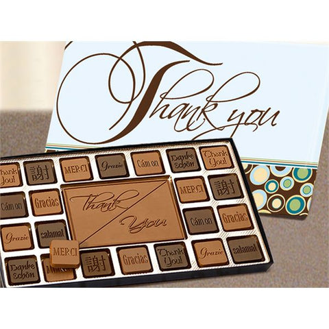 45pc chocolate assortment with a milk chocolate Thank You bar and printed lid