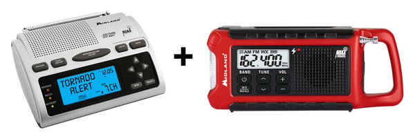 Home & Away Combo 1 - WR300 AM/FM Weather Alert Radio + ER210 Compact Emergency Crank Weather Radio