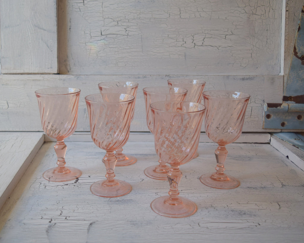 Shabby Pink Goblet Glasses (set of 7)