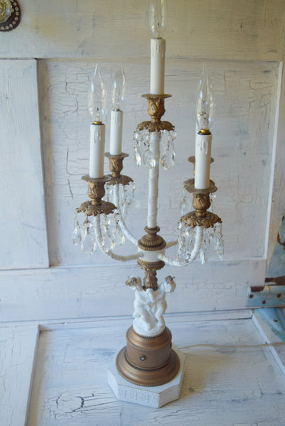 (SOLD) Cherub Candelabra Light Fixture 5-Lights