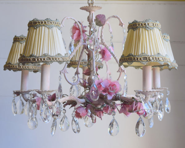 "SOLD ""Rose Garden"" Shabby Brass Chandelier"