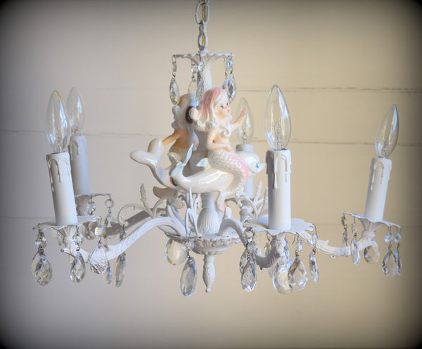 "Shabby Brass Mermaid Chandelier ""Little Girl with Dolphin"" SOLD"