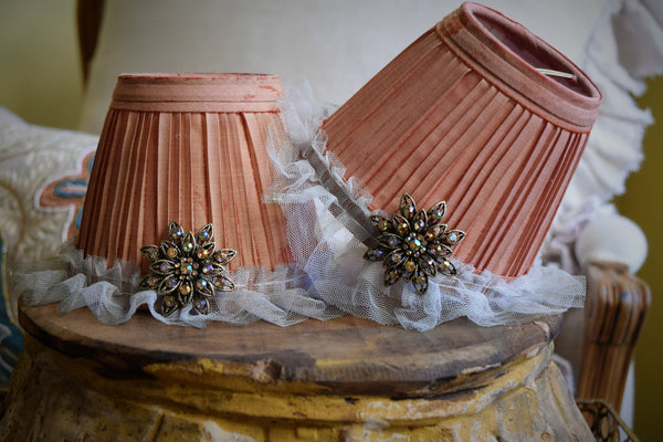 "Vintage Ruffled Chandelier Shades ""Coral""  (Set of 3)"