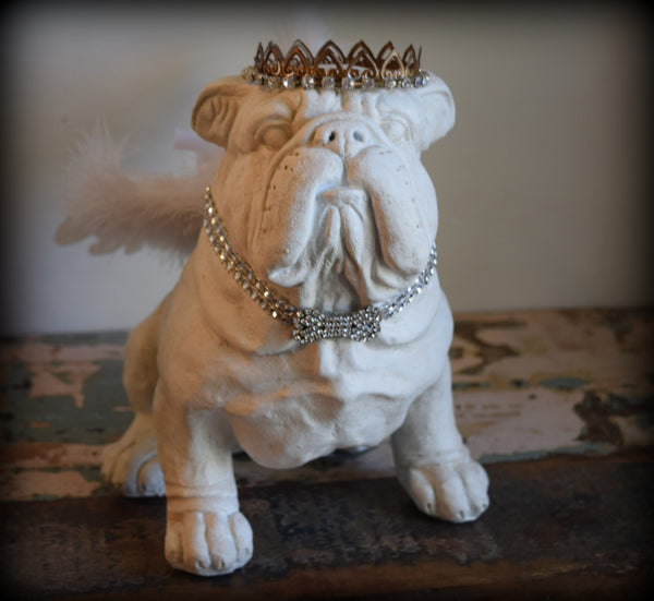 "SOLD  Bulldog ""Angel"" Statue"
