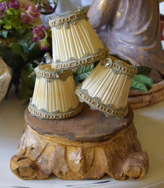 "Chandelier Shades Antiqued ""Green & Gold""  (Set of 5)"