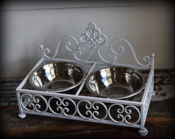 Pet Double Bowl Feeder - Shabby White