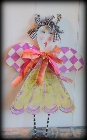 Shabby Little Girl Angel Wooden Wall Hanging