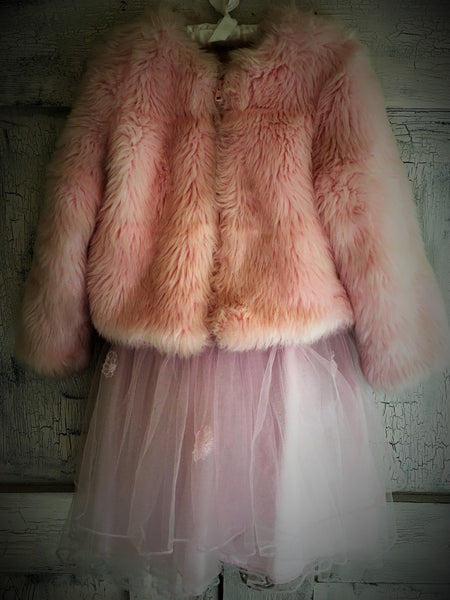 Childrens Vintage Pink Tulle Dress with Fur Coat
