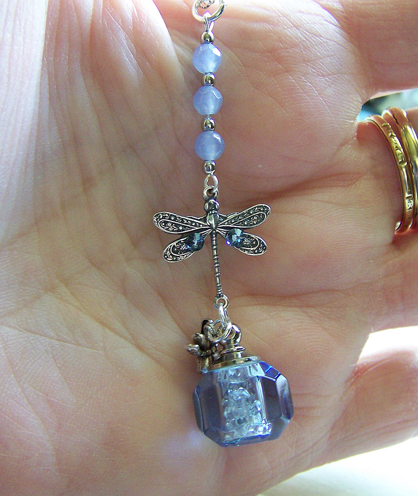 Blue Keepsake Bottle Herkimer Diamonds Dragonfly Pendant