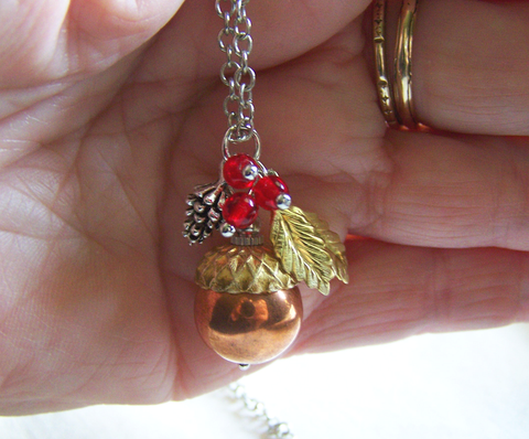 Autumn Harvest Samhain Copper Acorn Pendant