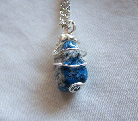 Natural Polished Afghanite Granite Wire Wrapped Pendant