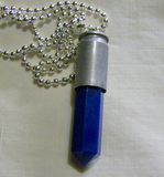 Electric Blue Agate Silver Bullet Jewelry Pendant