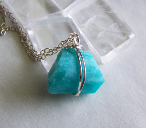 Natural Aqua Blue Amazonite Wire Wrapped Pendant