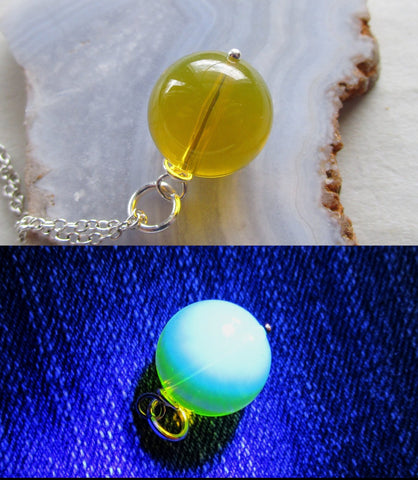 Dominican Blue Amber Bead Sphere Pendant Necklace