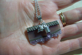 Amethyst and Fluorite Geode Druzy Slice Sterling Silver Pendant