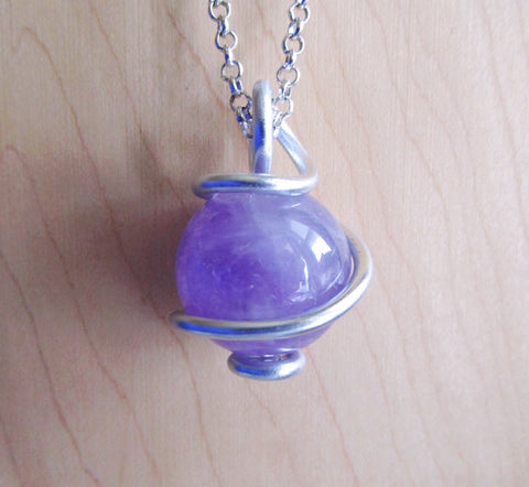 Lilac Amethyst Natural Crystal Ball Wire Wrapped Pendant Necklace