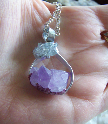 Lavender Amethyst Crystal Pink Garnet and Blue Celestite Necklace