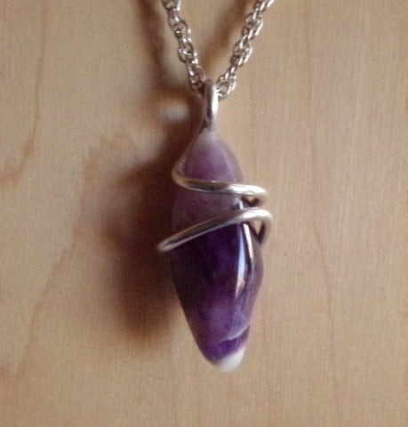Purple Chevron Amethyst Wire Wrapped Pendant Necklace