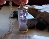 Amethyst and Celestite Glass Cylinder Landscape Pendant