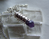 Purple Amethyst Raw Gemstone Silver Bullet Pendant