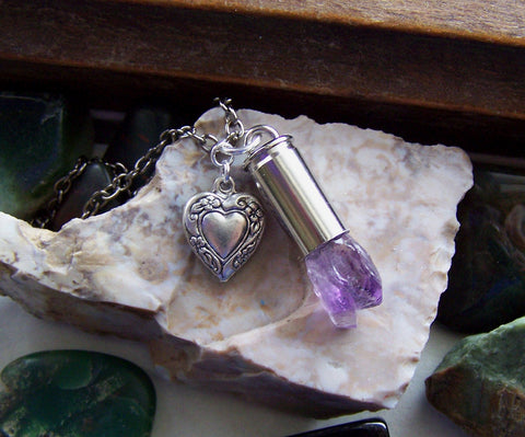 Elestial Amethyst Quartz Crystal Bullet Heart Jewelry Necklace