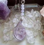 Lavender Amethyst and Jade Natural Crystal Pendant Necklace