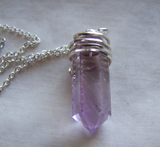 Natural Lavender Amethyst Gemstone Point Crystal Pendant