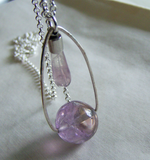 Ametrine and Rainbow Fluorite Double Gemstone Pendant