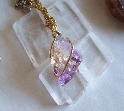 Purple and Gold Natural Ametrine Crystal Pendant Necklace