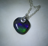 Iridescent Ammolite Ancient Seashell Crystal Jewelry Pendant