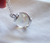 Angel Aura Wire Wrapped Quartz Crystal Ball Pendant Necklace