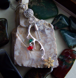 Reindeer Antler Celtic Quartz Yule Necklace