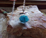 Blue Apatite Gemstones Crystal Ball Pendant Necklace