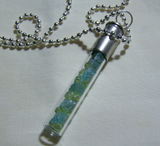 Blue Apatite and Green Peridot Gemstone Bullet Jewelry Pendant