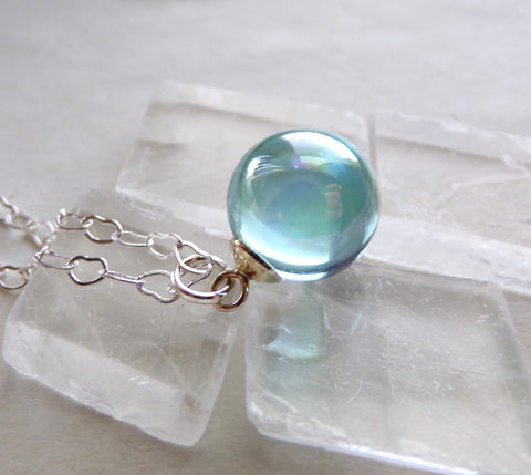 Aqua Aura Quartz Crystal Ball Heart Chain Necklace