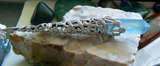 Aqua Aura Quartz Crystal Celtic Filigree Pendant