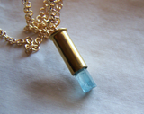 Aquamarine Crystal Gemstone Bullet Jewelry Pendant