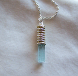Natural Aquamarine Gemstone Crystal Bullet Pendant
