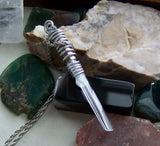 Natural Aquamarine Gemstone Wire Wrapped Bullet Pendant