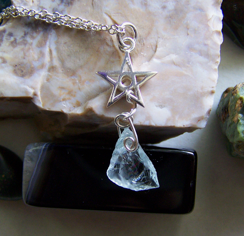 Aquamarine raw gemstone sterling silver star pendant my mystic aquamarine raw gemstone sterling silver star pendant mozeypictures Image collections