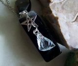 Aquamarine Raw Gemstone Sterling Silver Star Pendant