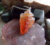 Orange Carnelian Arrowhead Natural Crystal Pendant Necklace