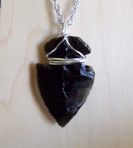 Black Obsidian Arrowhead Crystal Wire Wrapped Pendant Necklace