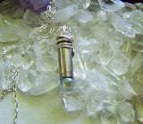 Aura Quartz Angel Teardrop Silver Bullet Pendant Necklace