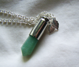 Green Aventurine Silver Leaves Bullet Jewelry Pendant