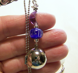 Amethyst Moon and Silver Sphere Galaxy Locket