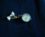 Vintage Gold Filled Crystal Ball Watch Pin Pendant